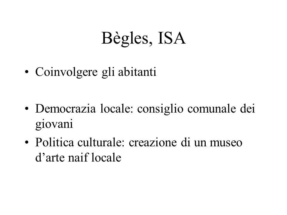 Bègles, ISA Coinvolgere gli abitanti Democrazia locale: consiglio comunale dei giovani Politica culturale: creazione di un museo darte naif locale
