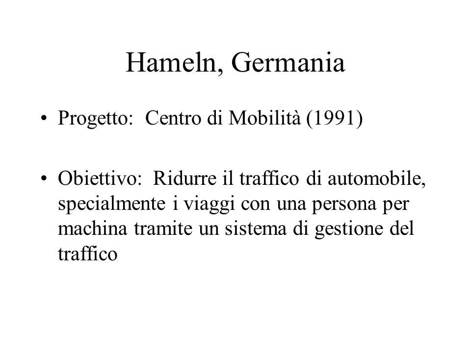 Hameln, Germania Progetto: Centro di Mobilità (1991) Obiettivo: Ridurre il traffico di automobile, specialmente i viaggi con una persona per machina tramite un sistema di gestione del traffico