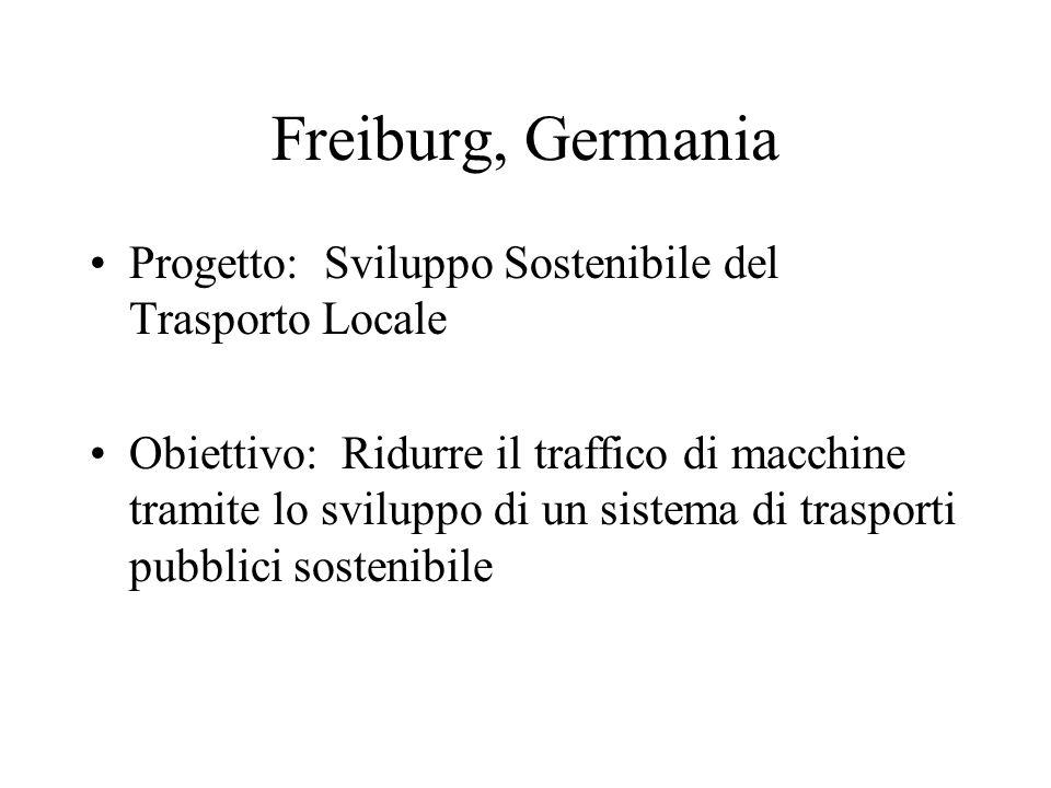 Freiburg, Germania Progetto: Sviluppo Sostenibile del Trasporto Locale Obiettivo: Ridurre il traffico di macchine tramite lo sviluppo di un sistema di trasporti pubblici sostenibile