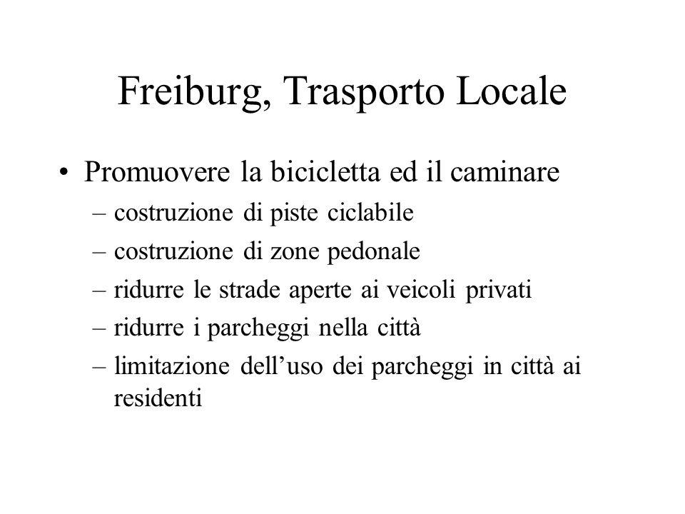 Freiburg, Trasporto Locale Promuovere la bicicletta ed il caminare –costruzione di piste ciclabile –costruzione di zone pedonale –ridurre le strade aperte ai veicoli privati –ridurre i parcheggi nella città –limitazione delluso dei parcheggi in città ai residenti