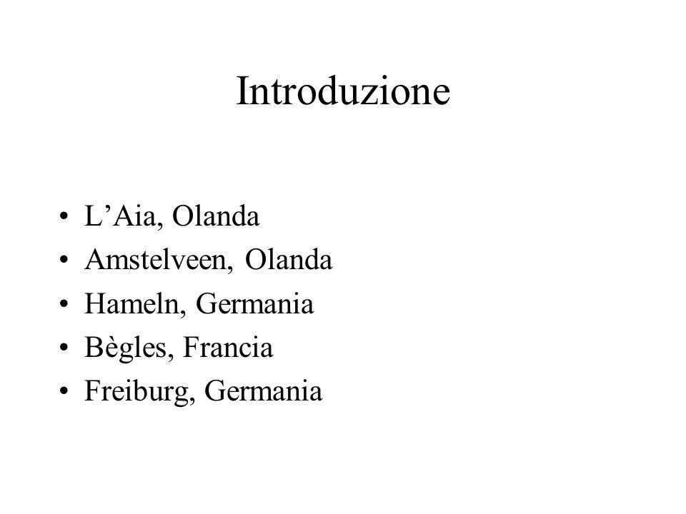 Introduzione LAia, Olanda Amstelveen, Olanda Hameln, Germania Bègles, Francia Freiburg, Germania