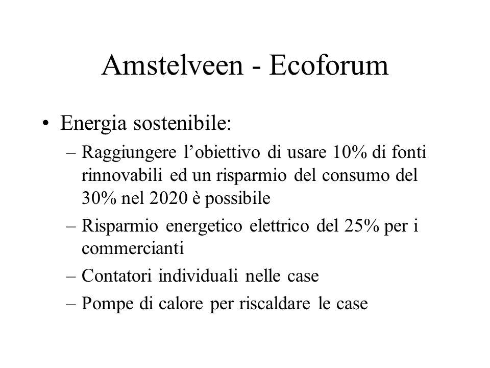 Amstelveen - Ecoforum Energia sostenibile: –Raggiungere lobiettivo di usare 10% di fonti rinnovabili ed un risparmio del consumo del 30% nel 2020 è possibile –Risparmio energetico elettrico del 25% per i commercianti –Contatori individuali nelle case –Pompe di calore per riscaldare le case