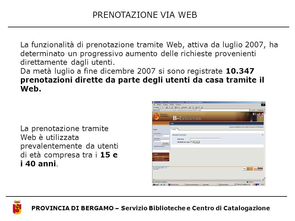 PRENOTAZIONE VIA WEB PROVINCIA DI BERGAMO – Servizio Biblioteche e Centro di Catalogazione La funzionalità di prenotazione tramite Web, attiva da lugl