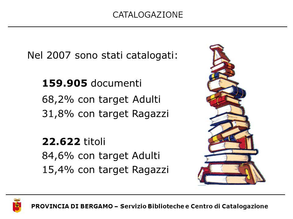CATALOGAZIONE PROVINCIA DI BERGAMO – Servizio Biblioteche e Centro di Catalogazione Nel 2007 sono stati catalogati: 159.905 documenti 68,2% con target