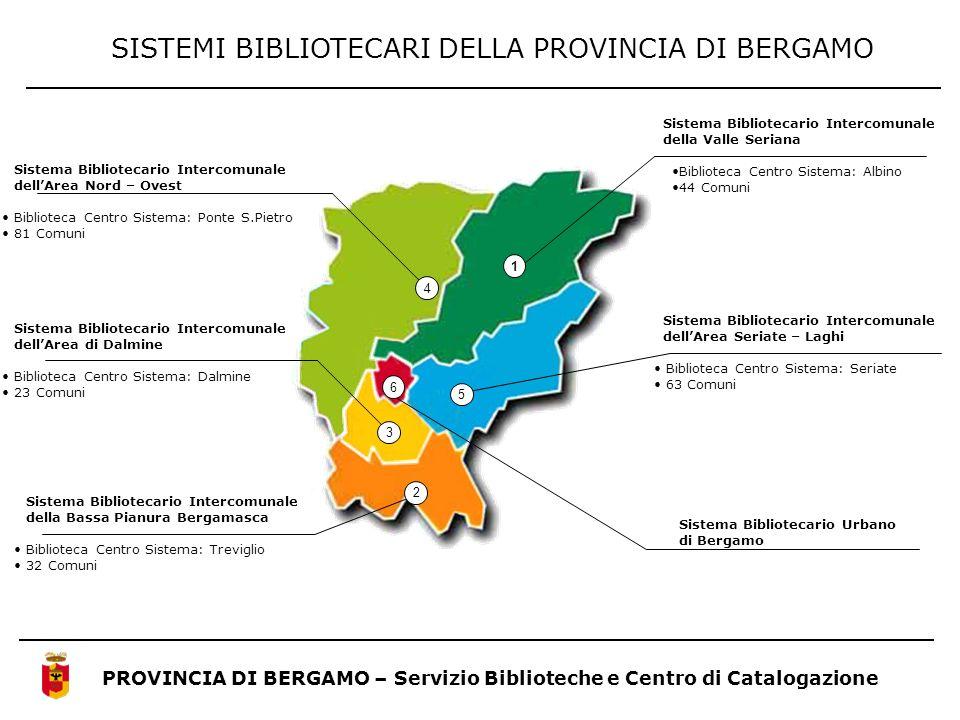 PROVINCIA DI BERGAMO – Servizio Biblioteche e Centro di Catalogazione SISTEMI BIBLIOTECARI DELLA PROVINCIA DI BERGAMO Sistema Bibliotecario Intercomun