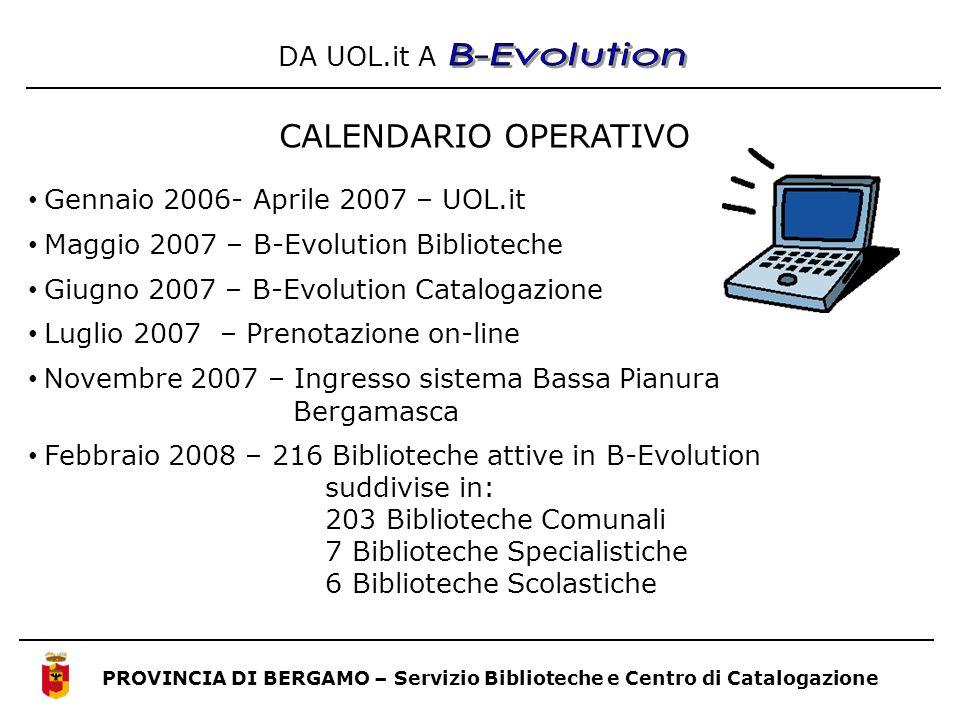 Gennaio 2006- Aprile 2007 – UOL.it Maggio 2007 – B-Evolution Biblioteche Giugno 2007 – B-Evolution Catalogazione Luglio 2007 – Prenotazione on-line N