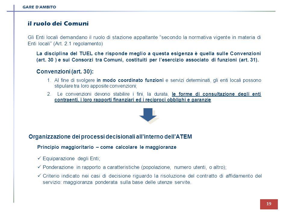 GARE DAMBITO 19 il ruolo dei Comuni Gli Enti locali demandano il ruolo di stazione appaltante secondo la normativa vigente in materia di Enti locali (