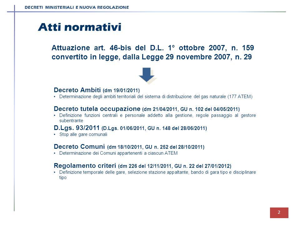 DECRETI MINISTERIALI E NUOVA REGOLAZIONE Attuazione art. 46-bis del D.L. 1° ottobre 2007, n. 159 convertito in legge, dalla Legge 29 novembre 2007, n.