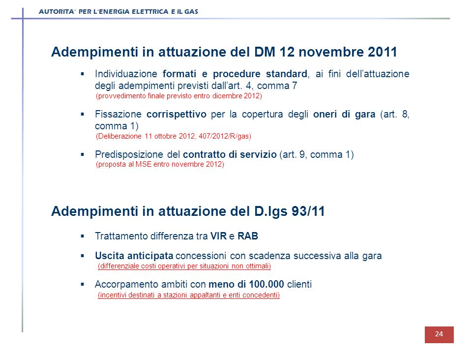 AUTORITA PER LENERGIA ELETTRICA E IL GAS 24 Adempimenti in attuazione del DM 12 novembre 2011 Individuazione formati e procedure standard, ai fini del