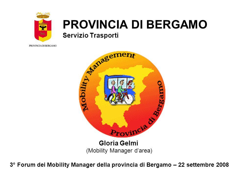 Gloria Gelmi (Mobility Manager darea) 3° Forum dei Mobility Manager della provincia di Bergamo – 22 settembre 2008 PROVINCIA DI BERGAMO Servizio Trasporti