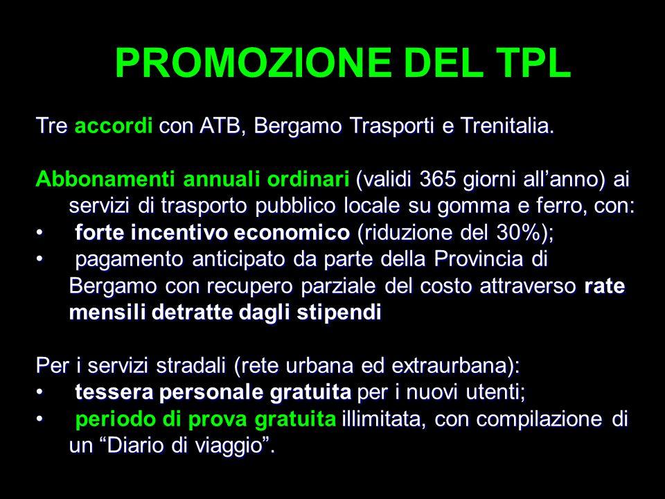 PROMOZIONE DEL TPL Tre con ATB, Bergamo Trasporti e Trenitalia.