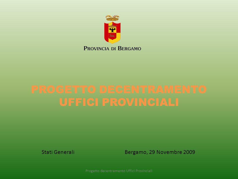 PROGETTO DECENTRAMENTO UFFICI PROVINCIALI Progetto decentramento Uffici Provinciali Stati Generali Bergamo, 29 Novembre 2009