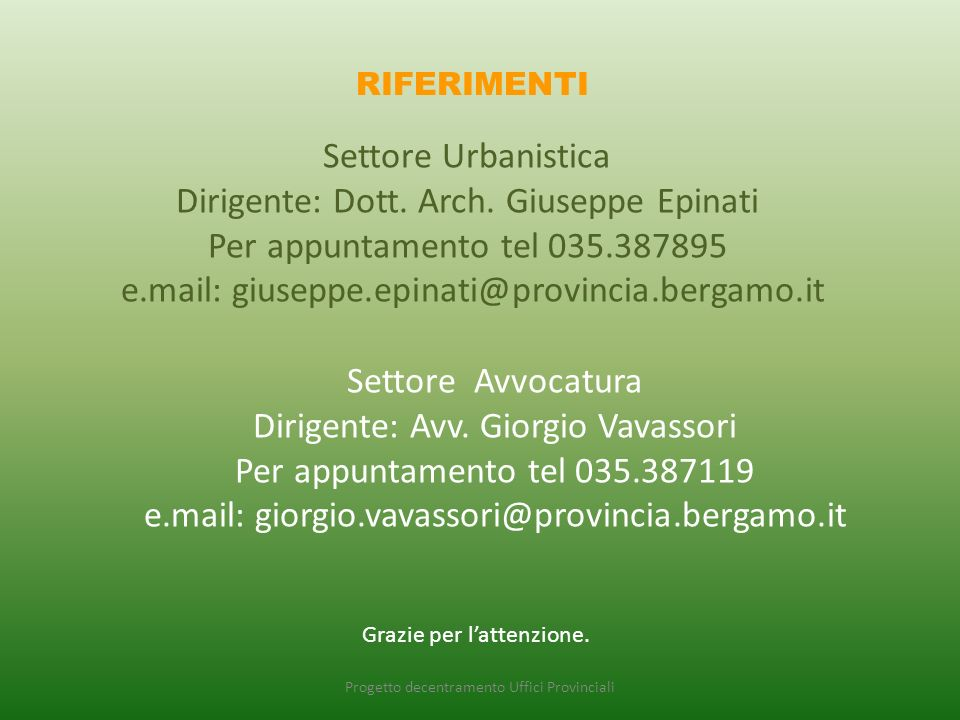 Progetto decentramento Uffici Provinciali RIFERIMENTI Settore Urbanistica Dirigente: Dott.
