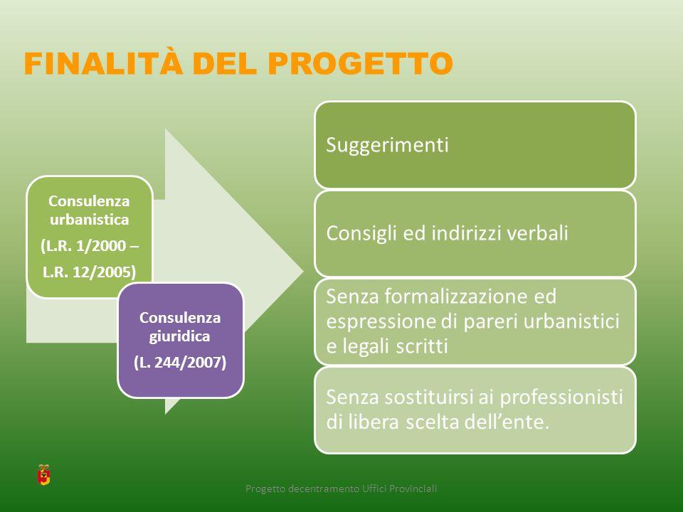 Consulenza urbanistica (L.R. 1/2000 – L.R. 12/2005) Consulenza giuridica (L.