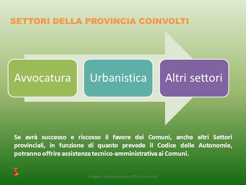 Se avrà successo e riscosso il favore dei Comuni, anche altri Settori provinciali, in funzione di quanto prevede il Codice delle Autonomie, potranno offrire assistenza tecnico-amministrativa ai Comuni.