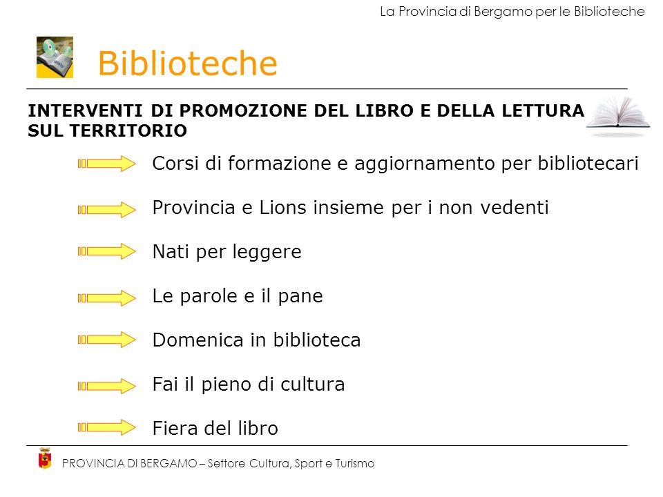 Biblioteche PROVINCIA DI BERGAMO – Settore Cultura, Sport e Turismo La Provincia di Bergamo per le Biblioteche INTERVENTI DI PROMOZIONE DEL LIBRO E DE