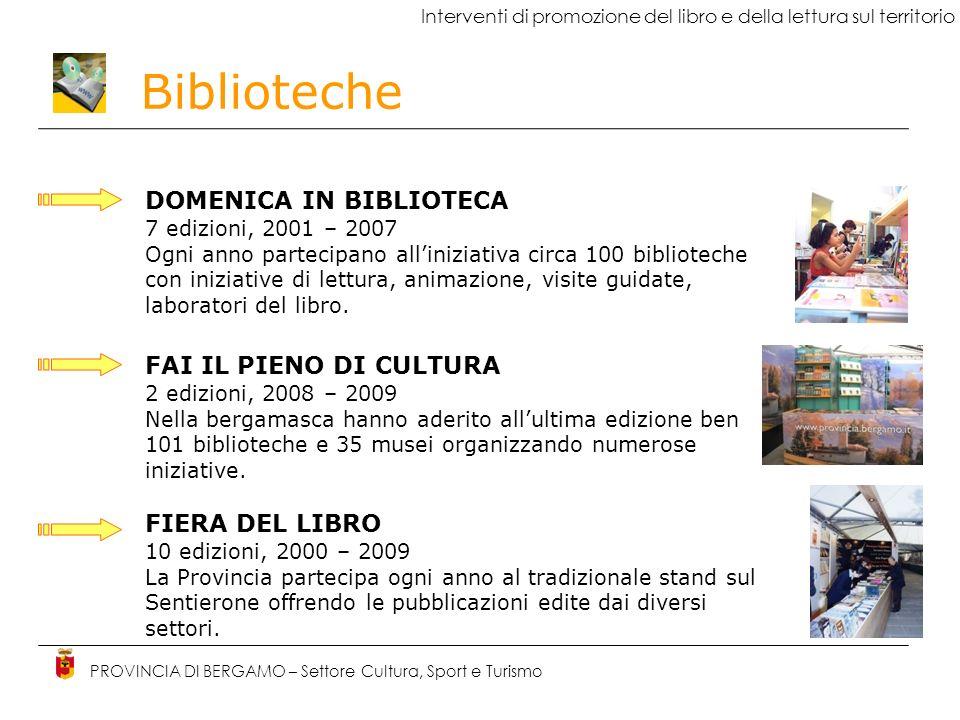 Biblioteche PROVINCIA DI BERGAMO – Settore Cultura, Sport e Turismo La Provincia di Bergamo per le Biblioteche INTERVENTI DI INNOVAZIONE TECNOLOGICA B-Evolution biblioteche on-line Catalogo on-line delle biblioteche della provincia di Bergamo accessibile via web http://opac.provincia.bergamo.ithttp://opac.provincia.bergamo.it Disponibilità di 2.757.598 documenti (70% adulti, 30% ragazzi) Funzioni disponibili via web: consultazione, ricerca, prestito, prenotazione, rinnovo Catalogazione Prestito interbibliotecario Incremento utenti (145.738 utenti attivi) Incremento prestiti (1.820.