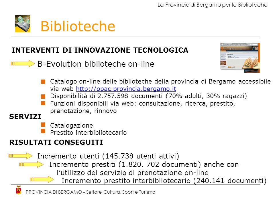 Biblioteche PROVINCIA DI BERGAMO – Settore Cultura, Sport e Turismo La Provincia di Bergamo per le Biblioteche INTERVENTI DI INNOVAZIONE TECNOLOGICA B