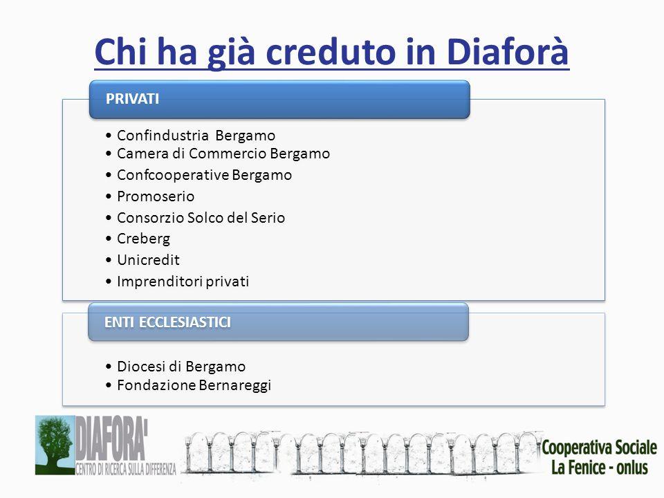 Chi ha già creduto in Diaforà Confindustria Bergamo Camera di Commercio Bergamo Confcooperative Bergamo Promoserio Consorzio Solco del Serio Creberg U