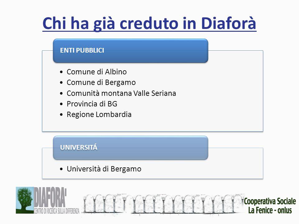 Chi ha già creduto in Diaforà Comune di Albino Comune di Bergamo Comunità montana Valle Seriana Provincia di BG Regione Lombardia ENTI PUBBLICI Università di Bergamo UNIVERSITÁ