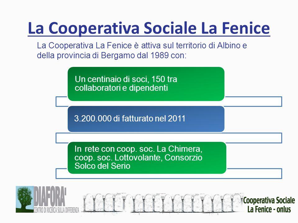 La Cooperativa Sociale La Fenice La Cooperativa La Fenice è attiva sul territorio di Albino e della provincia di Bergamo dal 1989 con: Un centinaio di soci, 150 tra collaboratori e dipendenti 3.200.000 di fatturato nel 2011 In rete con coop.