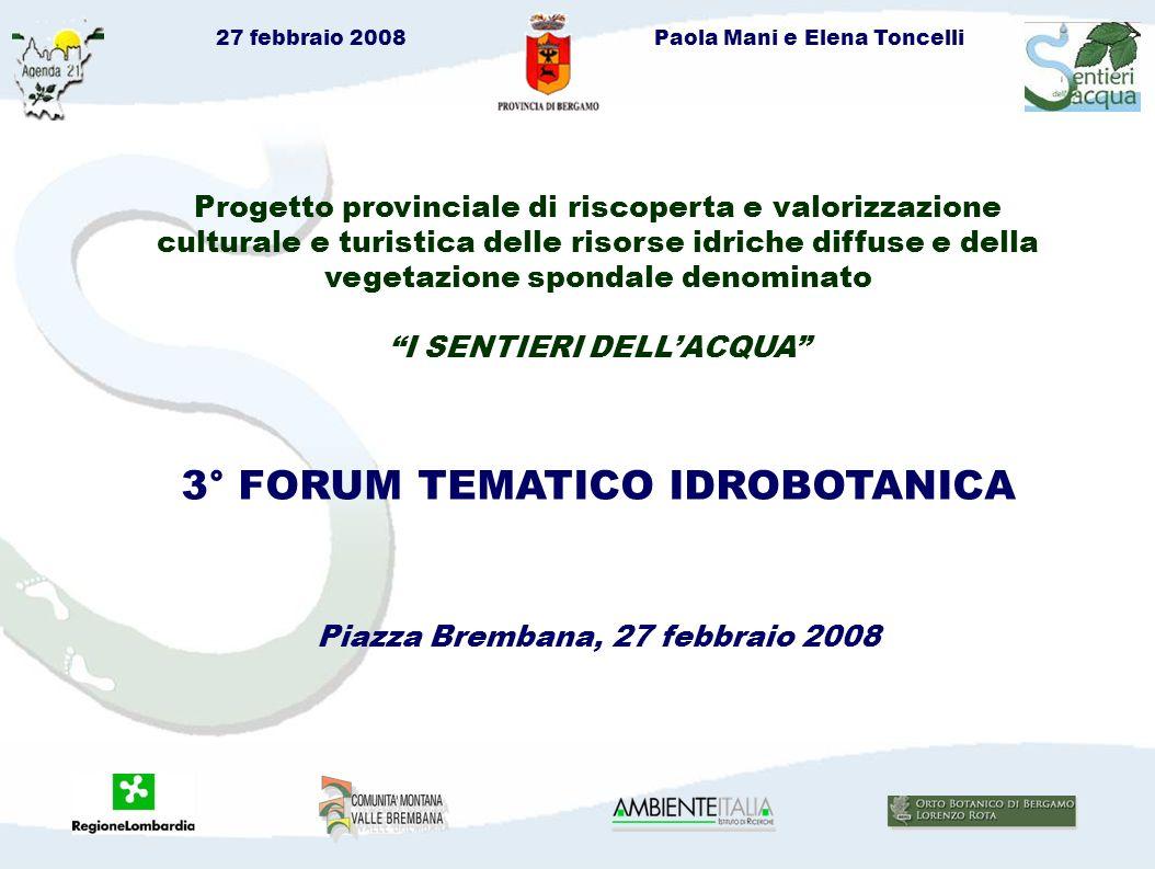27 febbraio 2008Paola Mani e Elena Toncelli Partecipazione Itinerari 1° Forum (ottobre 2007) 2° Forum (dicembre 2007) 4° Forum (aprile-maggio 2008) Oggi siamo qui.