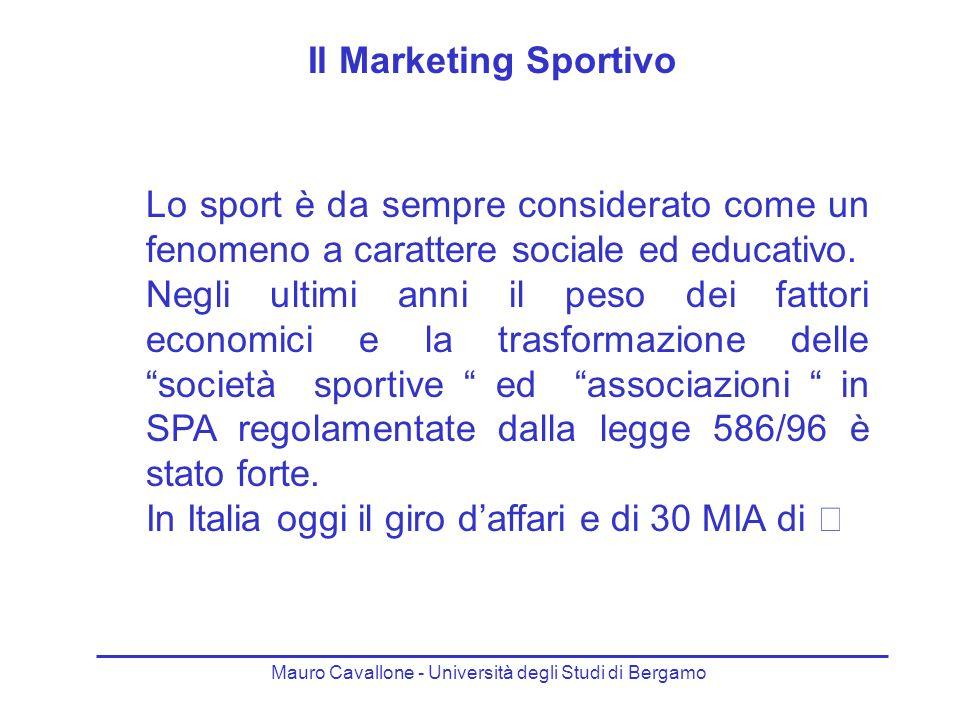 Il Marketing Sportivo Lo sport è da sempre considerato come un fenomeno a carattere sociale ed educativo.