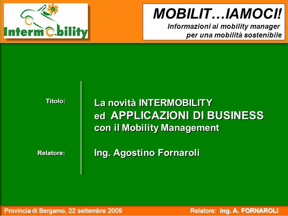 Provincia di Bergamo, 22 settembre 2009 Relatore: ing. A. FORNAROLI Provincia di Bergamo, 22 settembre 2009 Relatore: ing. A. FORNAROLI : MOBILIT…IAMO