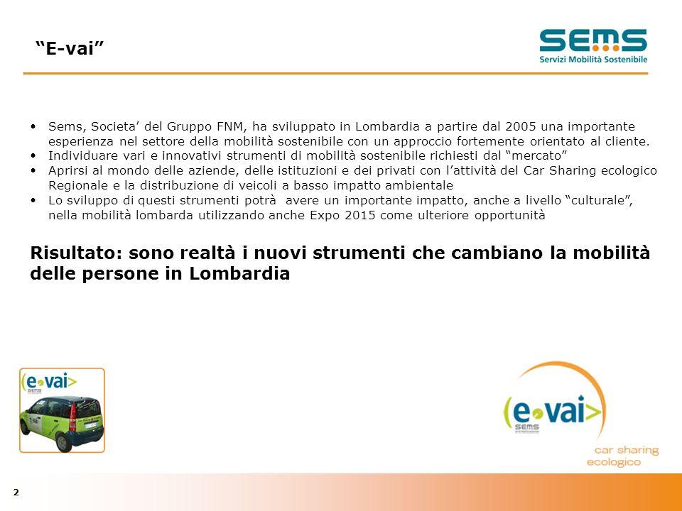 2 Sems, Societa del Gruppo FNM, ha sviluppato in Lombardia a partire dal 2005 una importante esperienza nel settore della mobilità sostenibile con un approccio fortemente orientato al cliente.