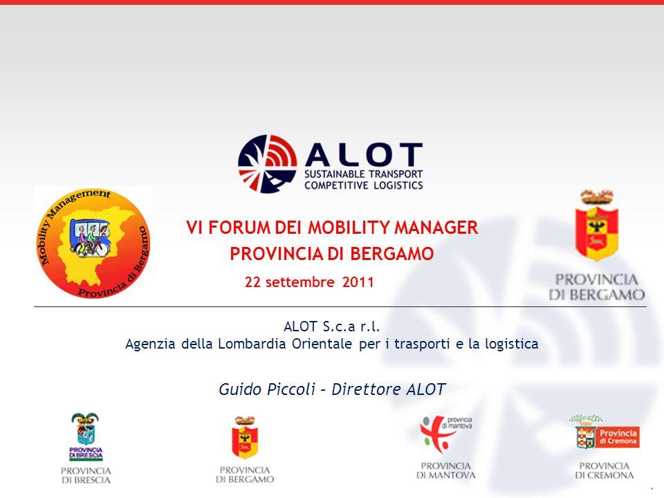. ALOT S.c.a r.l. Agenzia della Lombardia Orientale per i trasporti e la logistica Guido Piccoli – Direttore ALOT VI FORUM DEI MOBILITY MANAGER PROVIN