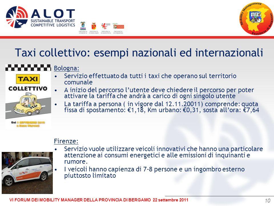 10 VI FORUM DEI MOBILITY MANAGER DELLA PROVINCIA DI BERGAMO 22 settembre 2011 – Bologna: Servizio effettuato da tutti i taxi che operano sul territori