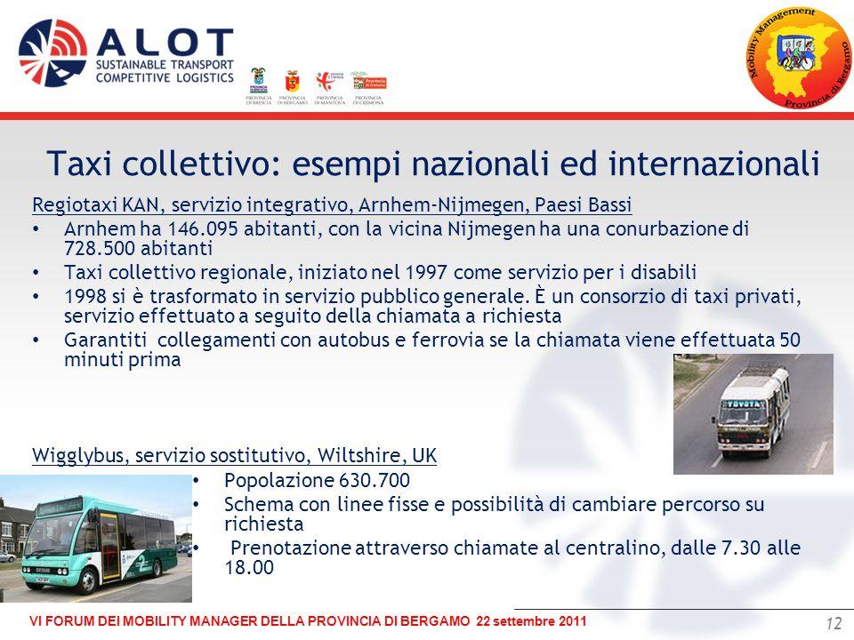 12 VI FORUM DEI MOBILITY MANAGER DELLA PROVINCIA DI BERGAMO 22 settembre 2011 – Regiotaxi KAN, servizio integrativo, Arnhem-Nijmegen, Paesi Bassi Arnh
