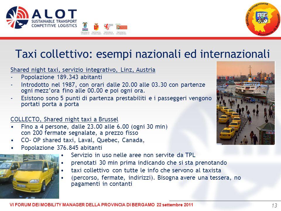 13 VI FORUM DEI MOBILITY MANAGER DELLA PROVINCIA DI BERGAMO 22 settembre 2011 – Shared night taxi, servizio integrativo, Linz, Austria -Popolazione 18
