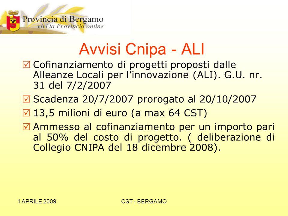 1 APRILE 2009CST - BERGAMO Avvisi Cnipa - ALI Cofinanziamento di progetti proposti dalle Alleanze Locali per linnovazione (ALI).