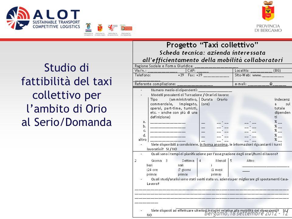 Bergamo,18 settembre 2012 - 12 Studio di fattibilità del taxi collettivo per lambito di Orio al Serio/Domanda