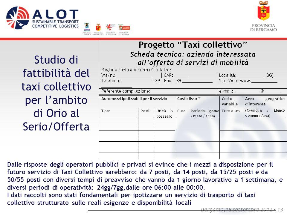 Bergamo,18 settembre 2012 - 13 Studio di fattibilità del taxi collettivo per lambito di Orio al Serio/Offerta Dalle risposte degli operatori pubblici