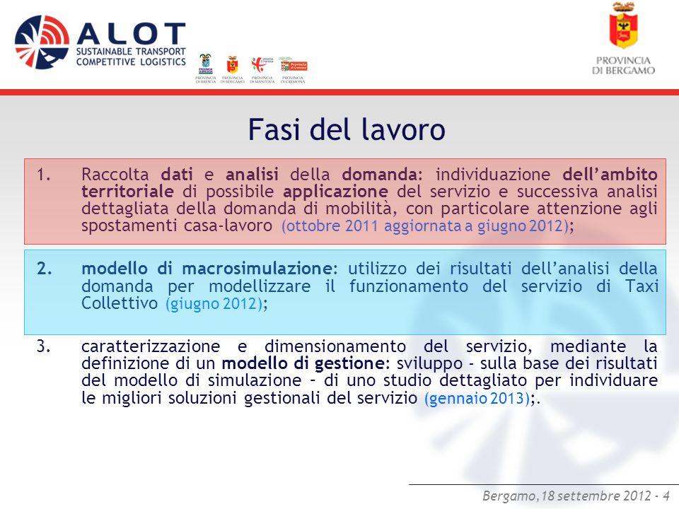 Bergamo,18 settembre 2012 - 4 Fasi del lavoro 1.Raccolta dati e analisi della domanda: individuazione dellambito territoriale di possibile applicazion