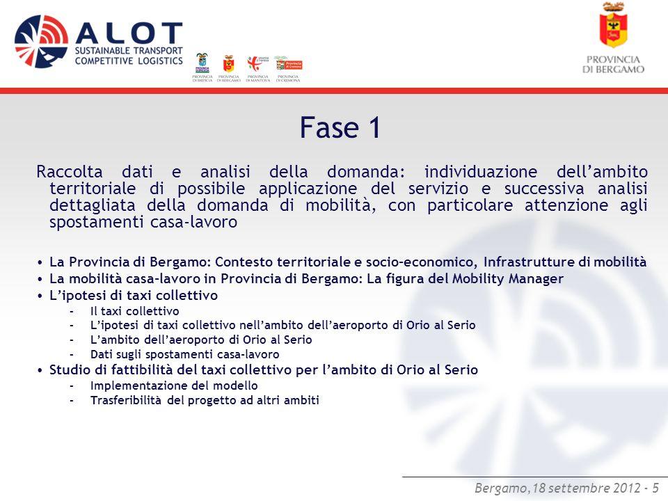 Bergamo,18 settembre 2012 - 5 Fase 1 Raccolta dati e analisi della domanda: individuazione dellambito territoriale di possibile applicazione del servi