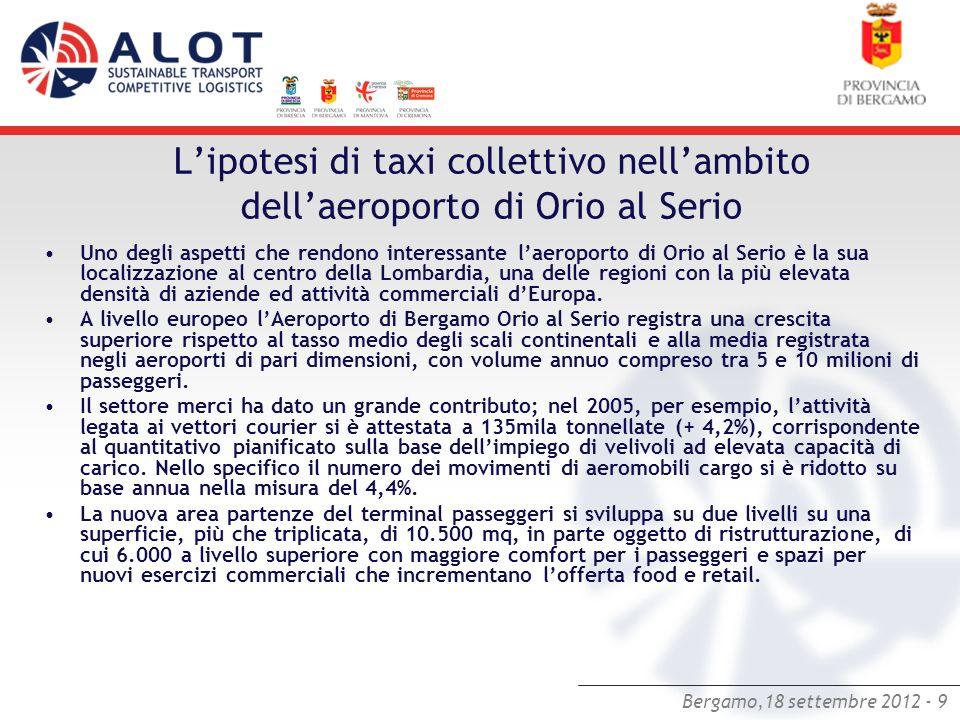 Bergamo,18 settembre 2012 - 9 Lipotesi di taxi collettivo nellambito dellaeroporto di Orio al Serio Uno degli aspetti che rendono interessante laeropo