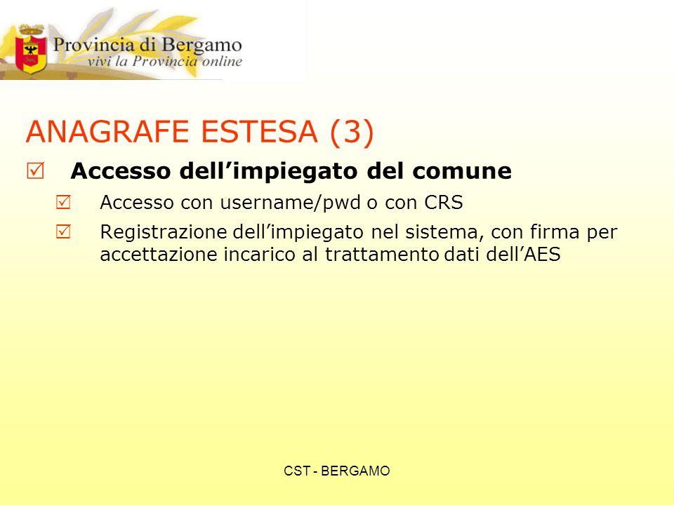CST - BERGAMO ANAGRAFE ESTESA (3) Accesso dellimpiegato del comune Accesso con username/pwd o con CRS Registrazione dellimpiegato nel sistema, con firma per accettazione incarico al trattamento dati dellAES
