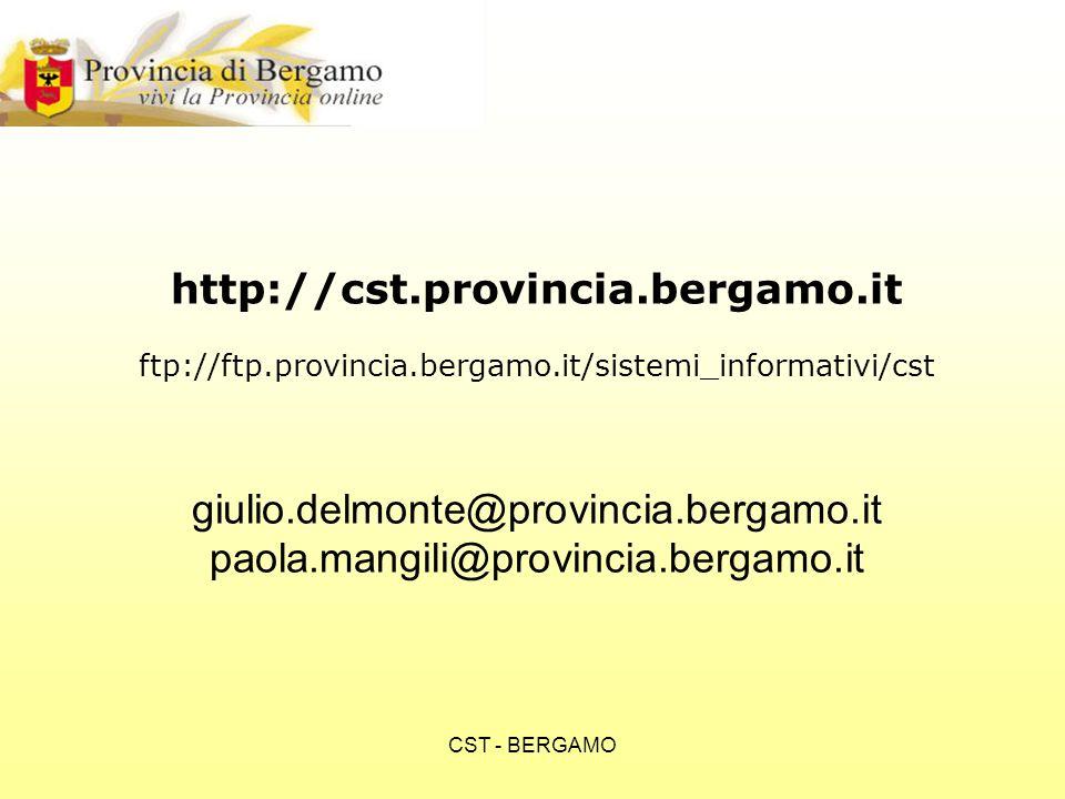 CST - BERGAMO http://cst.provincia.bergamo.it ftp://ftp.provincia.bergamo.it/sistemi_informativi/cst giulio.delmonte@provincia.bergamo.it paola.mangili@provincia.bergamo.it