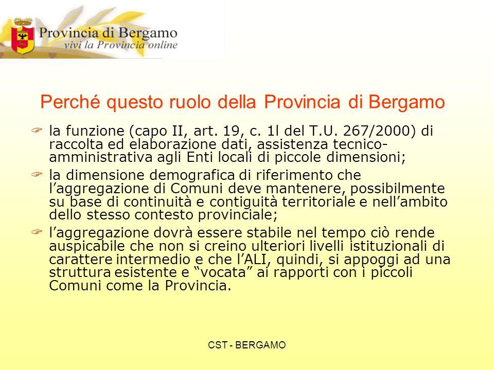 CST - BERGAMO Infrastruttura Il progetto presuppone lutilizzo: della infrastruttura di rete e dei server della Provincia delle risorse umane del servizio Sistemi Informativi della Provincia di Bergamo