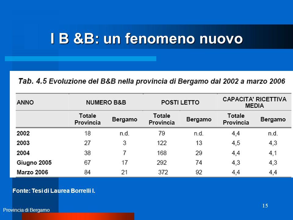 15 I B &B: un fenomeno nuovo Provincia di Bergamo Fonte: Tesi di Laurea Borrelli I.