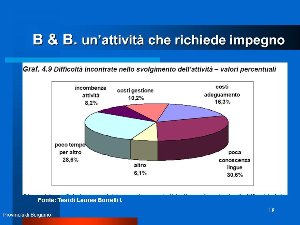 18 B & B. unattività che richiede impegno Provincia di Bergamo Fonte: Tesi di Laurea Borrelli I.