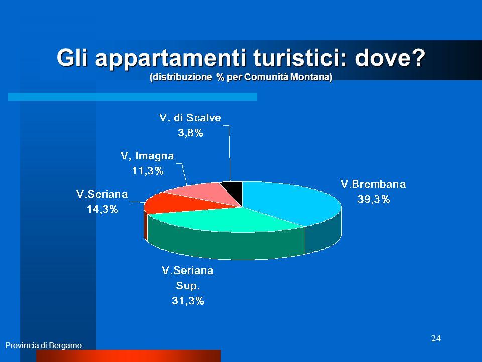 24 Gli appartamenti turistici: dove (distribuzione % per Comunità Montana) Provincia di Bergamo
