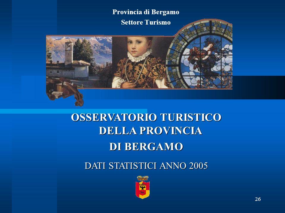 26 Provincia di Bergamo Settore Turismo OSSERVATORIO TURISTICO DELLA PROVINCIA DI BERGAMO DATI STATISTICI ANNO 2005