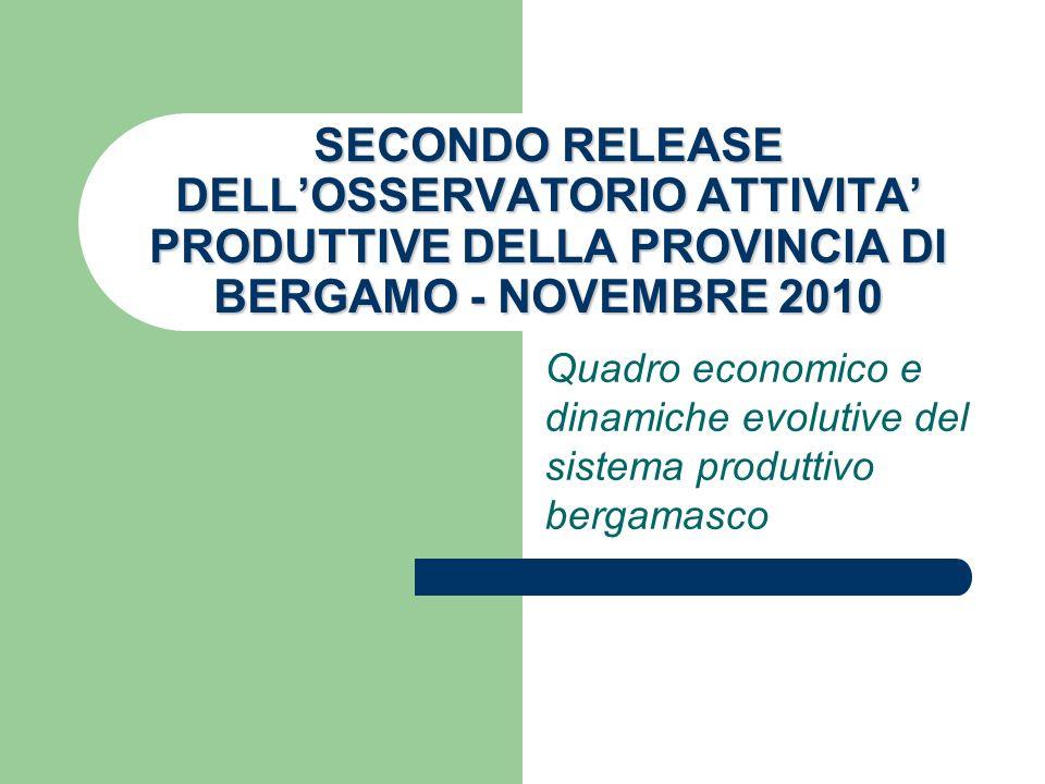 SECONDO RELEASE DELLOSSERVATORIO ATTIVITA PRODUTTIVE DELLA PROVINCIA DI BERGAMO - NOVEMBRE 2010 Quadro economico e dinamiche evolutive del sistema pro