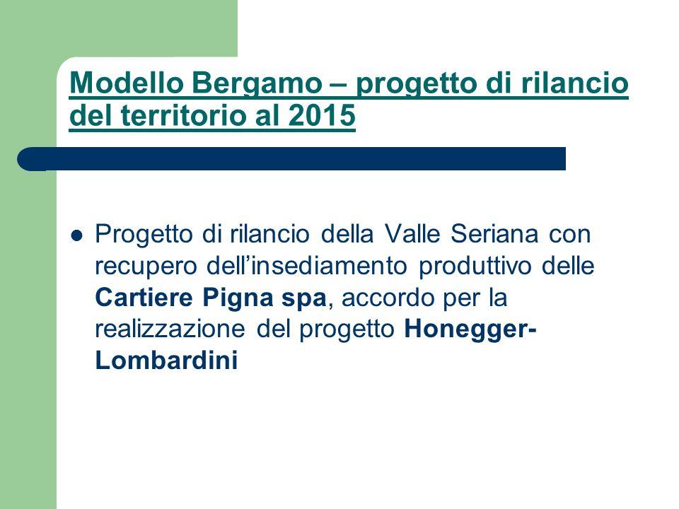 Modello Bergamo – progetto di rilancio del territorio al 2015 Progetto di rilancio della Valle Seriana con recupero dellinsediamento produttivo delle