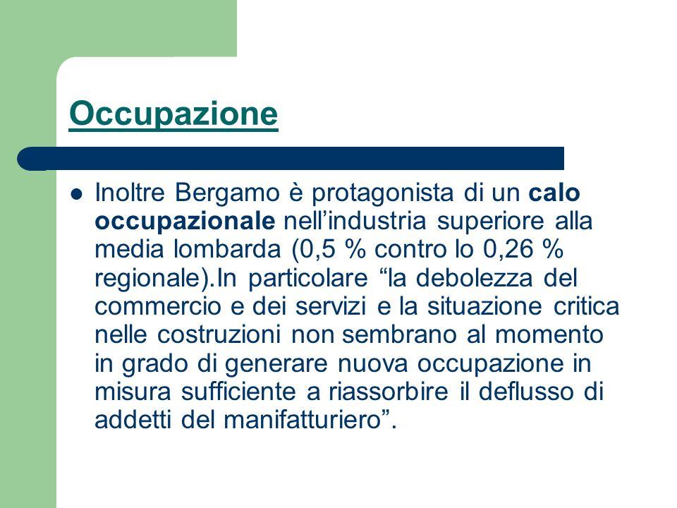 Occupazione Inoltre Bergamo è protagonista di un calo occupazionale nellindustria superiore alla media lombarda (0,5 % contro lo 0,26 % regionale).In