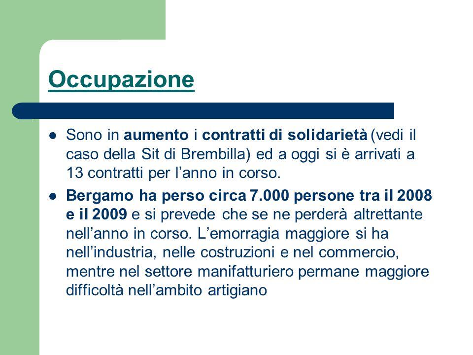 Occupazione Sono in aumento i contratti di solidarietà (vedi il caso della Sit di Brembilla) ed a oggi si è arrivati a 13 contratti per lanno in corso